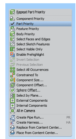 Selection Filter Part Priority Inventor